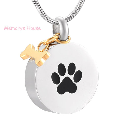 Pet Paw Print Stainless Steel Round Shape Pendant