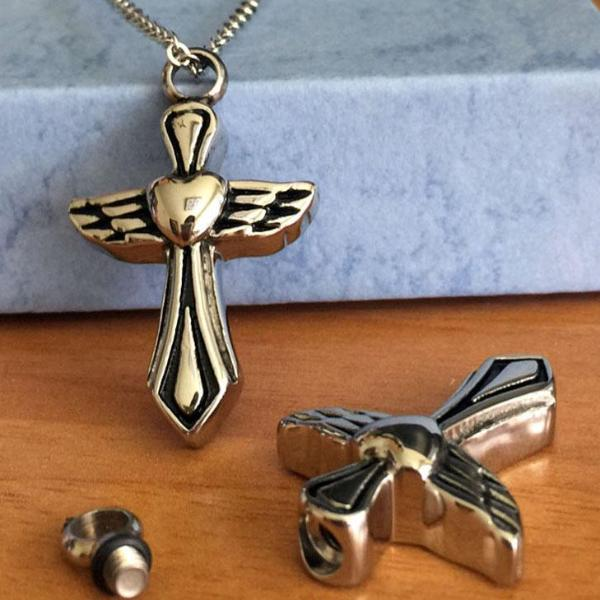 Angel Heart Cross Pendant