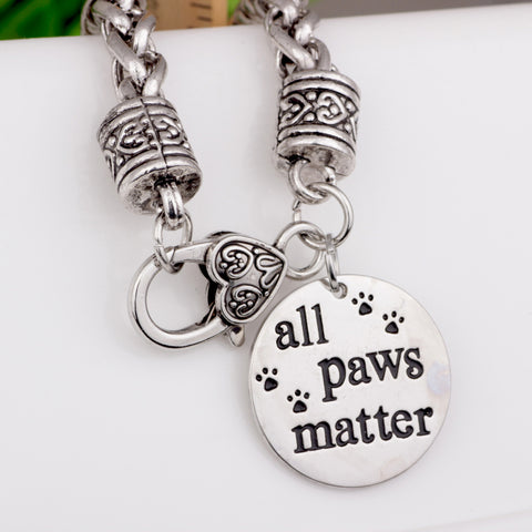 Silver basket chain all paws matter charm bracelet