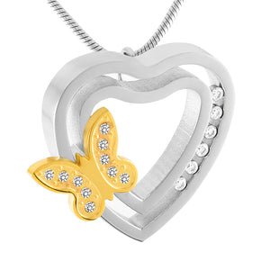 Golden Butterfly With Crystal Heart Stainless Steel Pendant