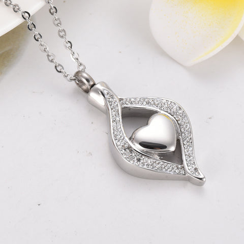 Stainless Steel Crystal Teardrop Heart