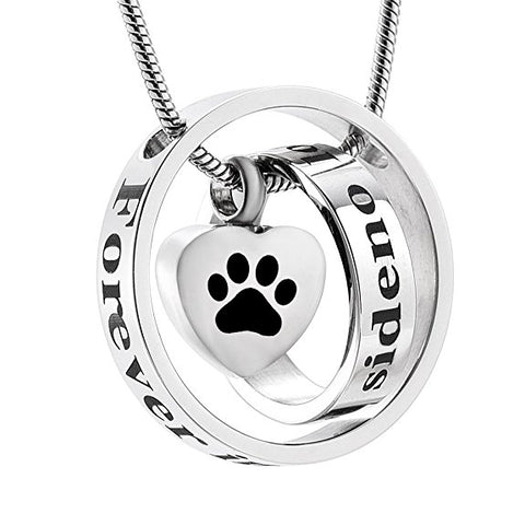 No Longer By My Side Forever In My Heart Charm Paw Print