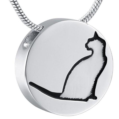 Cat Inlay Slider Round Stainless Steel Pendant