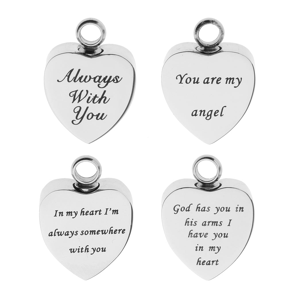 4 Pieces Stainless Steel Heart Urn Pendants