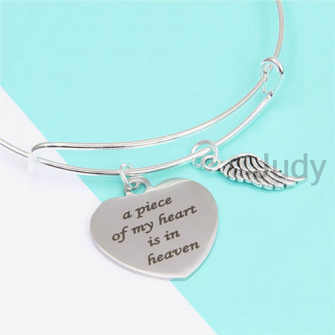A Piece of my Heart is in Heaven Charm Bangle