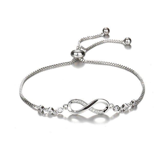 Crystal Adjustable Infinity Charm Bracelet
