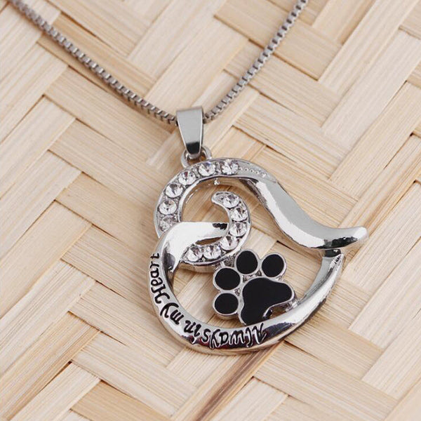 Hollow Paw Print Heart Pendant