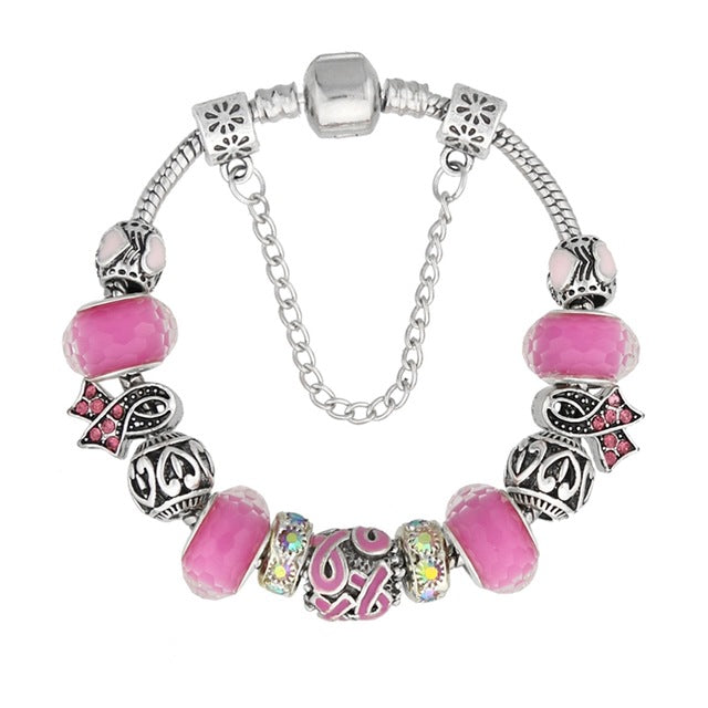 Glass Bead Crystal Breast Cancer Awareness Pink Ribbon Charm Bracelet