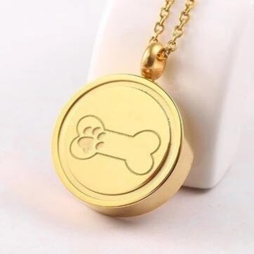Paw Print in Bone Cremation Stainless Steel Ash Pendant