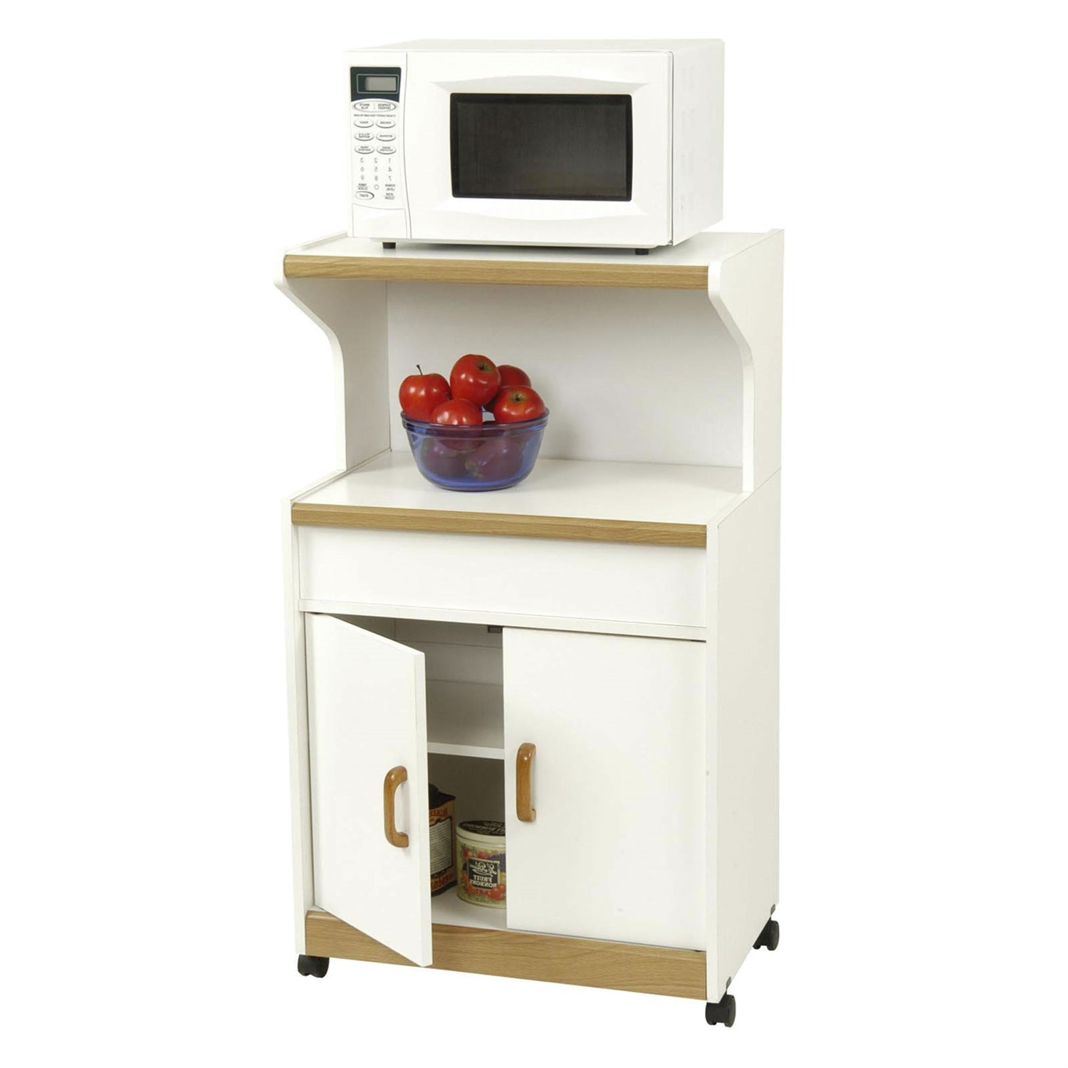 Kitchen Utility Microwave Cart in White & Medium Oak with Lower Storage