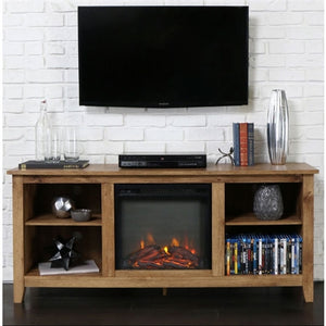 Barnwood 2-in-1 Electric Fireplace Space Heater and 58-inch TV Stand