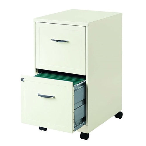 2-Drawer Pearl White Steel File Cabinet with Casters