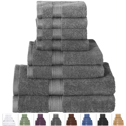 8-Piece Bath Towel Set in Soft Luxury 100-Percent Cotton - Grey
