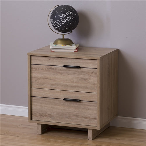 Modern 2-Drawer End Table Nightstand in Light Oak Wood Finish