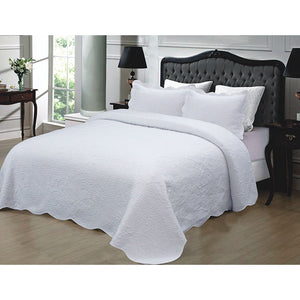 Full / Queen 3-Piece White Quilted Cotton Bedspread with Shams
