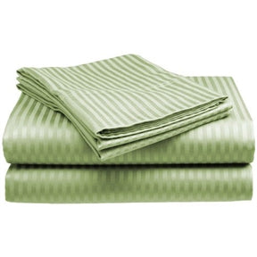Full size Microfiber Sateen Dobby Stripe Sheet Set in Sage Green