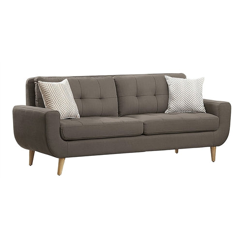 Grey Fabric Upholstered Modern Mid-Century Style Sofa Couch