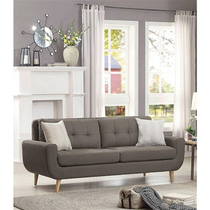Grey Fabric Upholstered Modern Mid-Century Style Sofa Couch ...