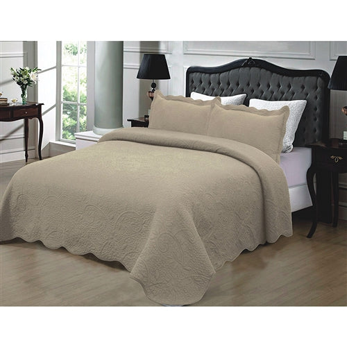 Full / Queen 3-Piece 100% Cotton Quilted Bedspread in Taupe