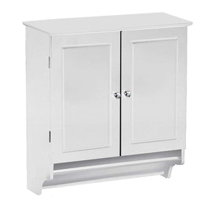 White Bathroom Wall Cabinet with Storage Shelf and Towel Bar
