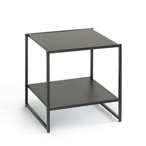 Modern Steel Frame End Table Nightstand in Espresso