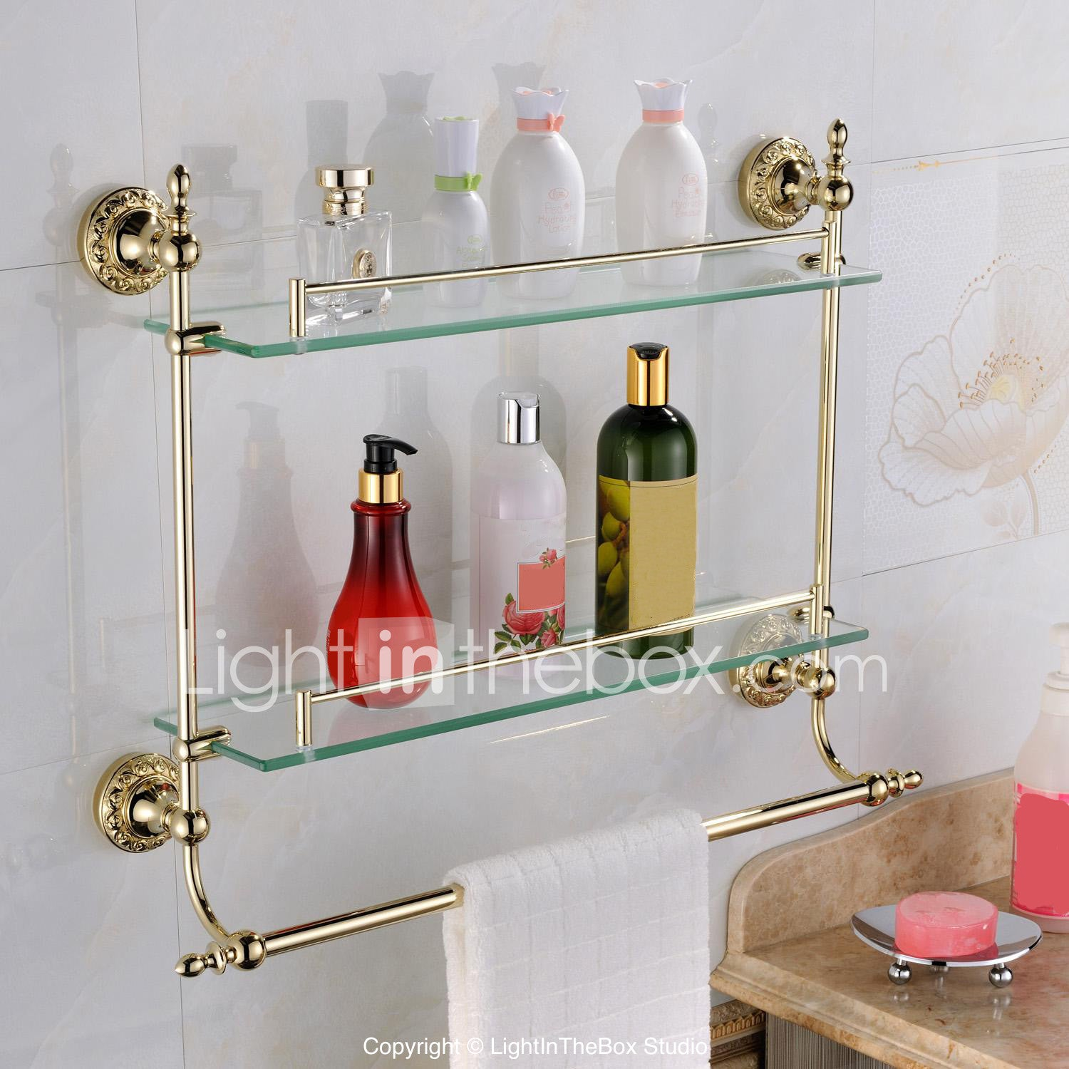 Bathroom Shelf Contemporary Brass Glass 1 pc - Hotel bath #04879733