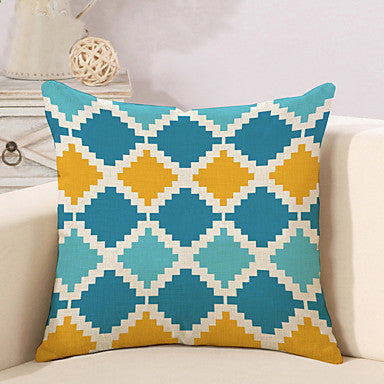 6 pcs Cotton / Linen Pillow Cover / Novelty Pillow / Pillow Case, Plaid / Checkered / Geometric / Color Block Geometric / Classical #06613658
