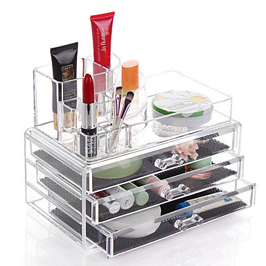 Cosmetic Box Others Makeup Storage Transparent Fashion Quadrate Plastics #06460631