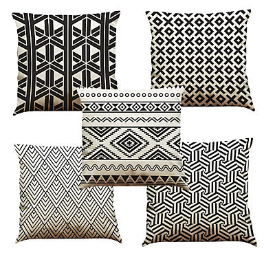 5 pcs Linen Natural/Organic Pillow Case Pillow Cover, Solid Floral Plaid Textured Casual Beach Style Euro Bolster Traditional/Classic #05670891