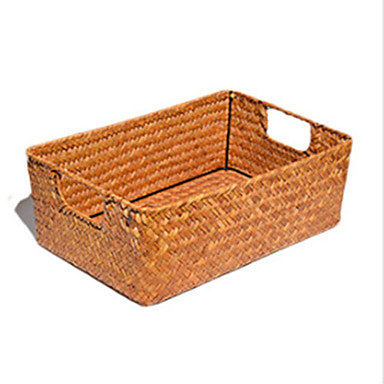 Straw Rope Rectangle Multifunction Home Organization,2 pcs #06520029