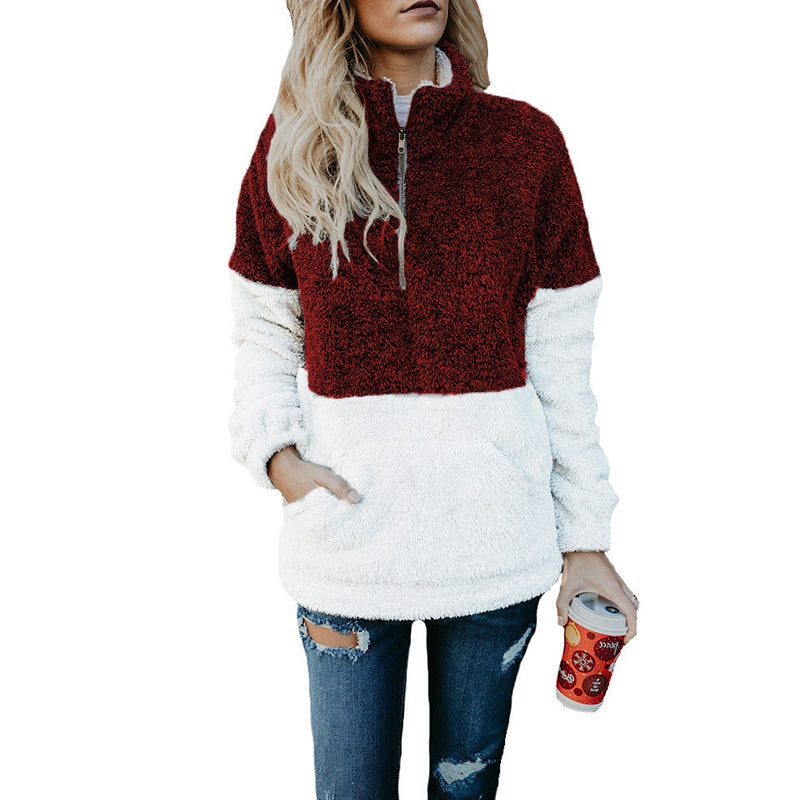 Band Collar Zipper Color Block Sweatshirt