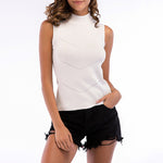 New Women's High Neck Rib Vest Knit Solid Sleeveless Bottoming Sweater