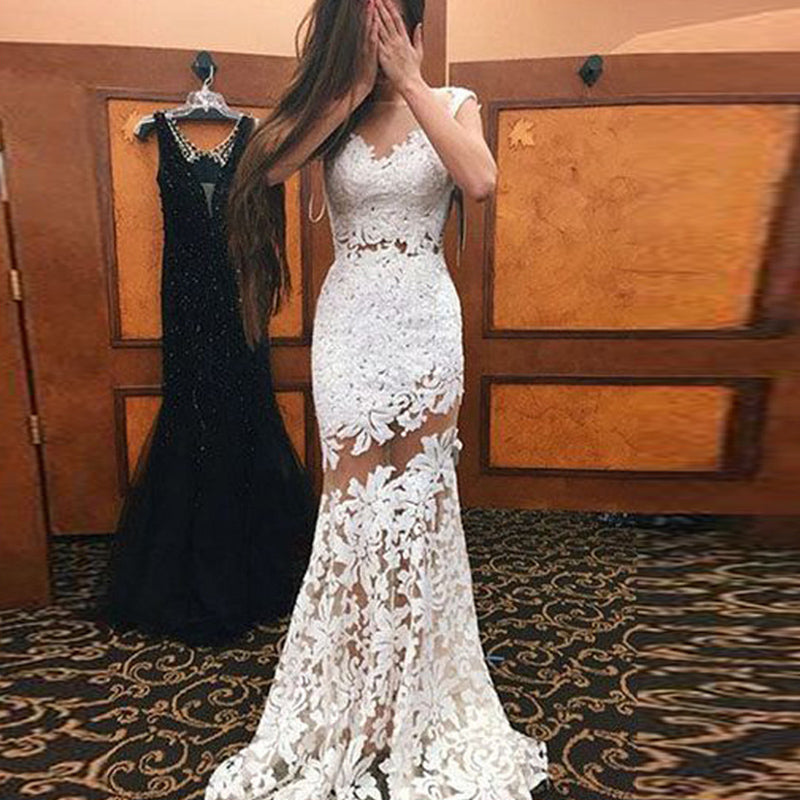 White Lace Openwork Sleeveless Maxi Formal Dress