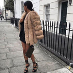 Fashion Faux Fur Long Sleeve Coat