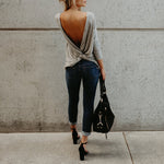Round Neck Asymmetric Hem Backless Plain T-Shirt