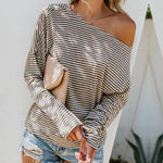 One Shoulder Loose Fitting Striped T-Shirt
