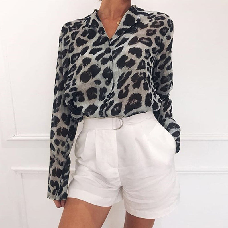Turn Down Collar Single Breasted Leopard Printed Blouse