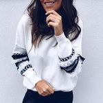 Round Neck Ruffle Trim Abstract Pint Patchwork Sweatshirt