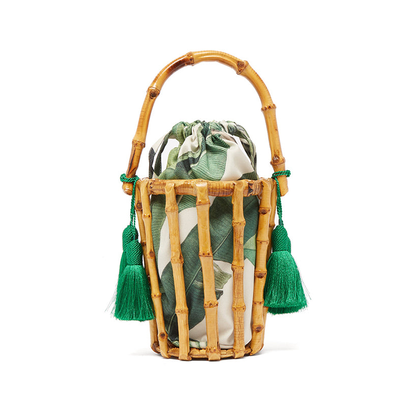 New Bamboo Woven Portable Bucket Bag
