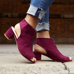 Women Suede Pumps Sandals Casual Zipper Shoes