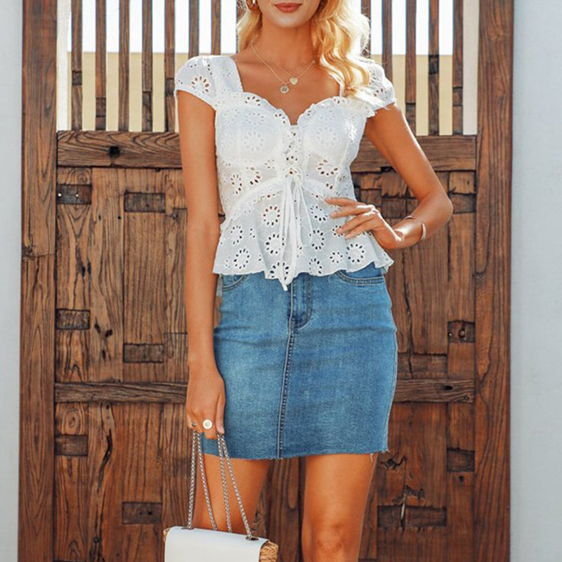 V Neck Lace Up Elastic Waist Hollow Out Blouse