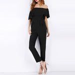 Chiffon Off Shoulder Patch Pocket Flounce Plain Jumpsuit
