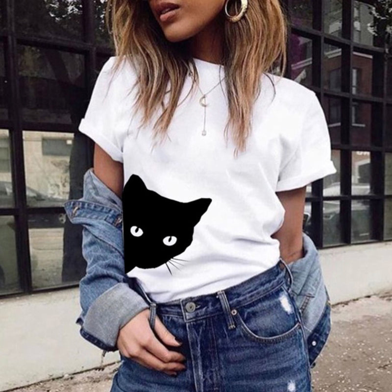 Cat Round Neck Animal Prints T-Shirt