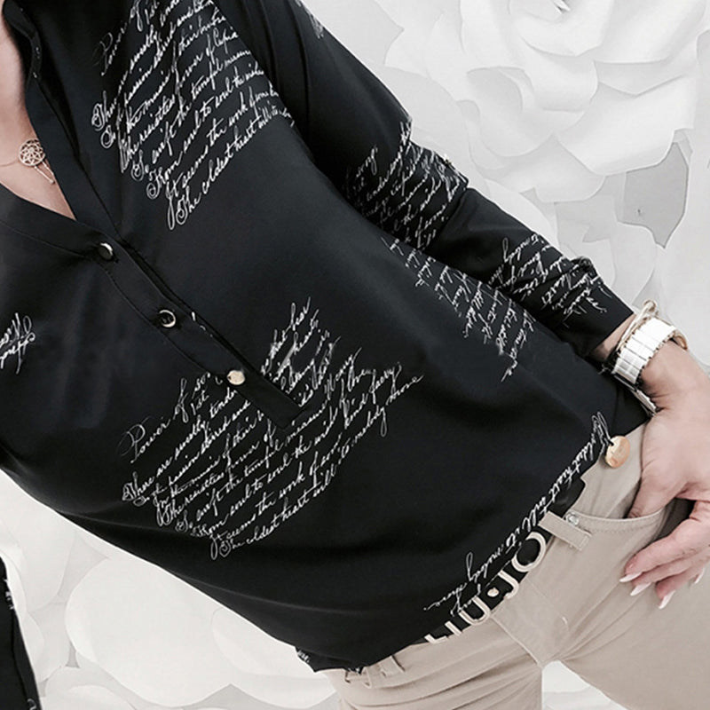 V Neck Asymmetric Hem Letters Shirt