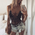 Spaghetti Strap Lace Up See Through Patchwork Teddy