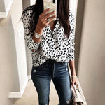 Turn Down Collar Single Breasted Leopard Printed Shirt