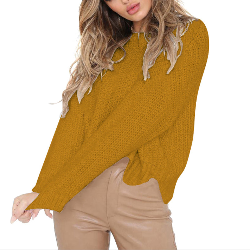 Round Neck Asymmetric Hem Plain Sweater