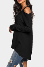 V Neck Asymmetric Hem Cutout Plain T-Shirt