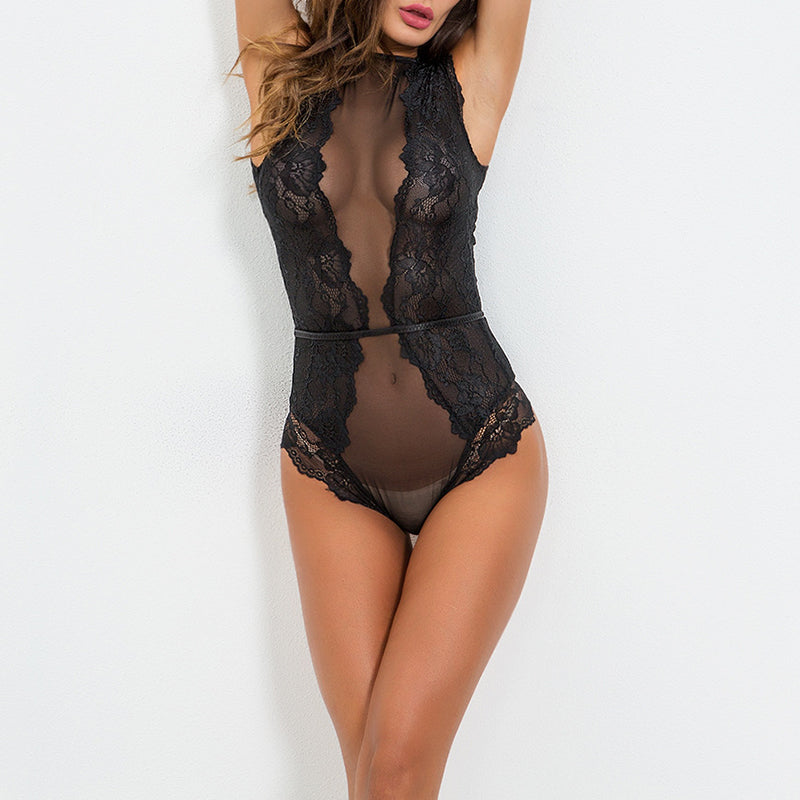 Round Neck See Through Lace Patchwork Teddy