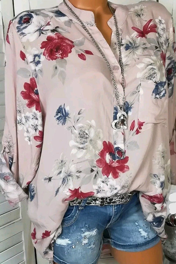 Autumn Spring Summer Cotton V-Neck Button Floral Printed Blouse
